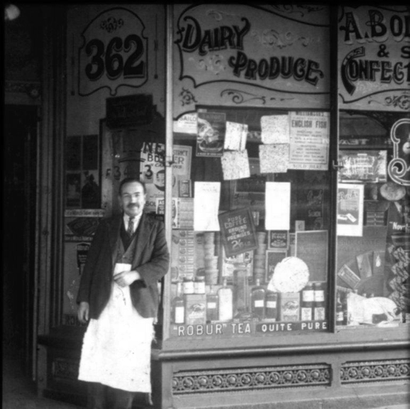 Mr A. Boltin outside his grocery shop at 362 Lygon Street Carlton, circa 1930