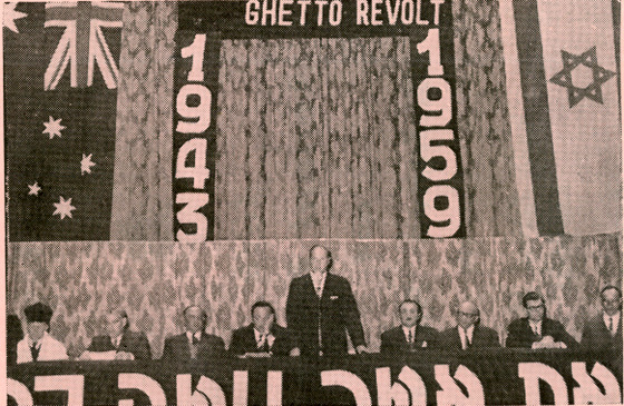 "Memorial evening for the 16th anniversary of the ""Warsaw Ghetto Revolt"" at the Melbourne Town Hall, 1959"