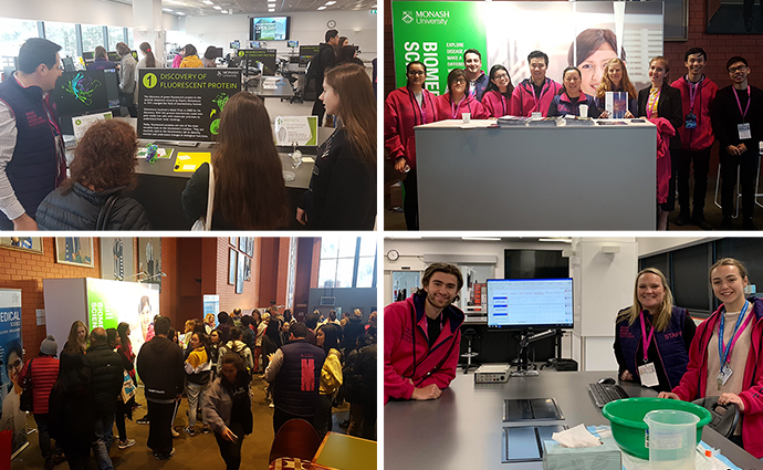 More activities in the BLTB, staff and student volunteers in the Robert Blackwood Hall, and crowds of prospective students and their families.