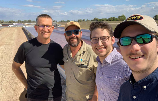 Left to Right: Professor Rocky de Nys and Bruno Pais from Pacific Biotechnologies and Monash Science students Daniel Malkinson and Rodrigo Garcia-Mulder