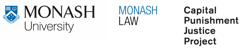 MMonash University logo, Monash Law logo, Capital Punishment Justice Project logo