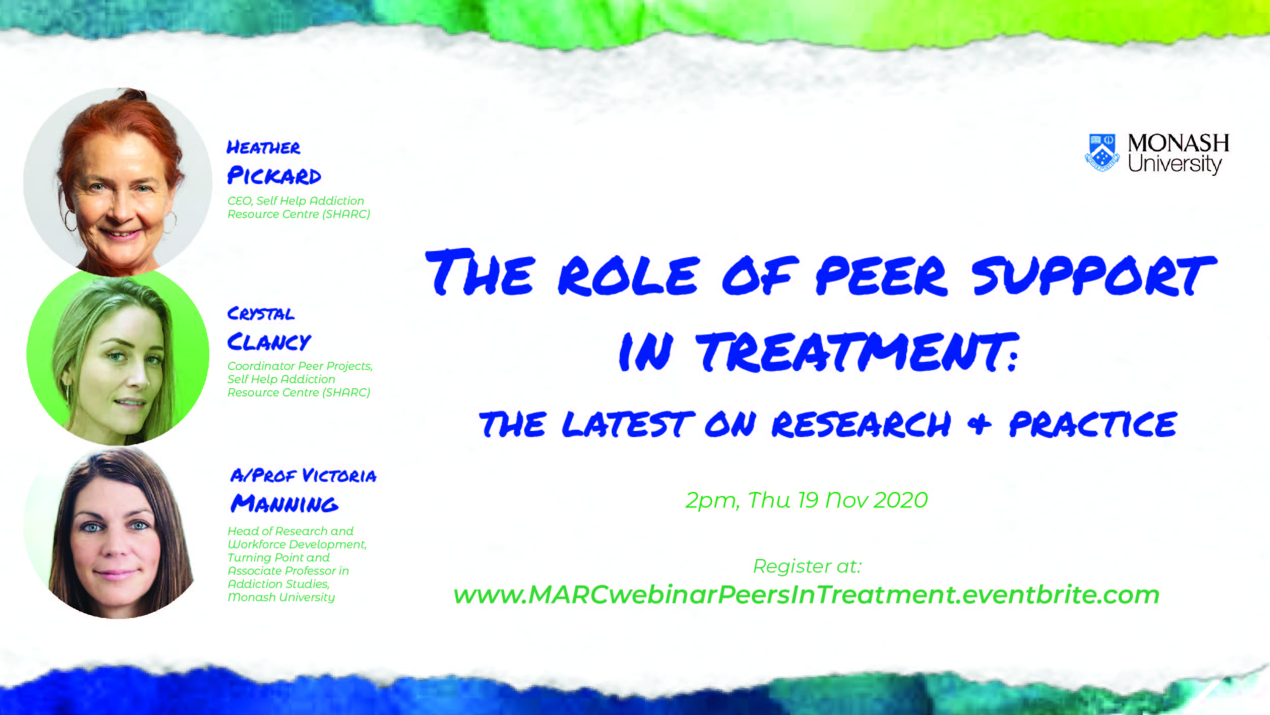 The role of peer support in treatment: the latest on research & practice. 2pm Thursday 19 November 2020