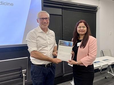 2020 Master of Clinical Medicine Award winner Aparna Patil with Professor Peter Cameron
