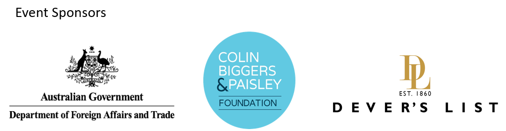 Event Sponsors: Department of Foreign Affairs and Trade, Colin Biggers & Paisley Foundation and Dever's List