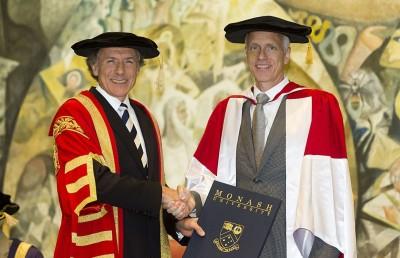 Chancellor Alan Finkel (L) and Professor Brian Kobilka (R) CREDIT: Greg Ford photography