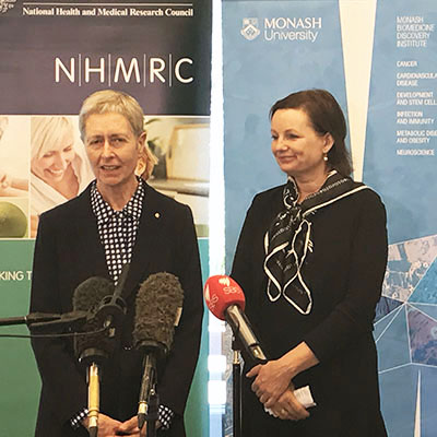 NHMRC CEO Anne Kelso AO, and Federal Minister for Health Sussan