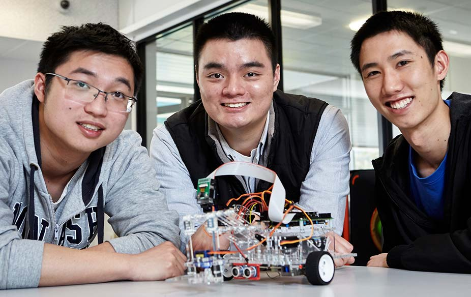 Student group with robot