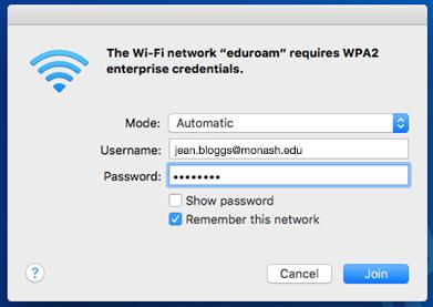 Change your eduroam username: macOS | eSolutions