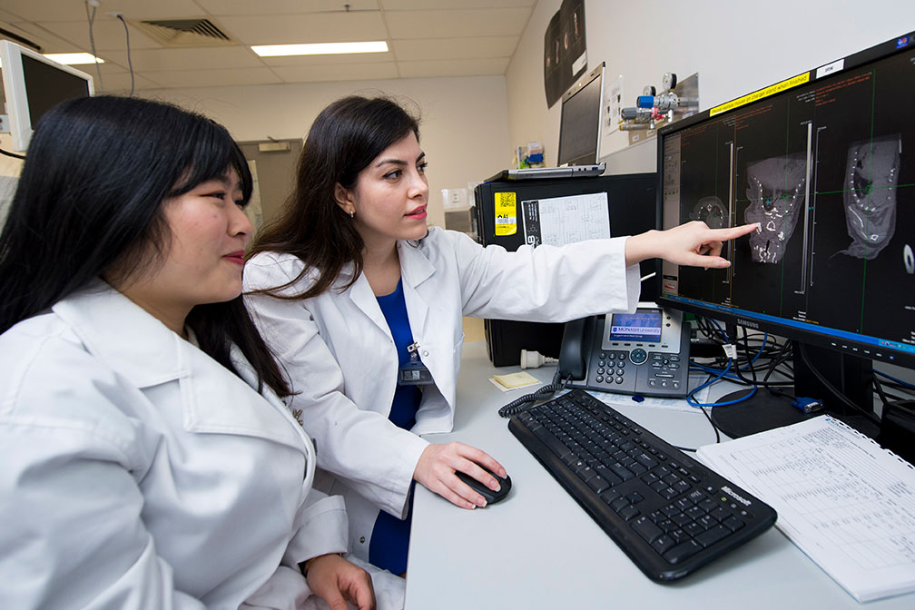 Jasmine Chen (L) discusses her research CT images with MBI's Tara Sepehrizadeh.