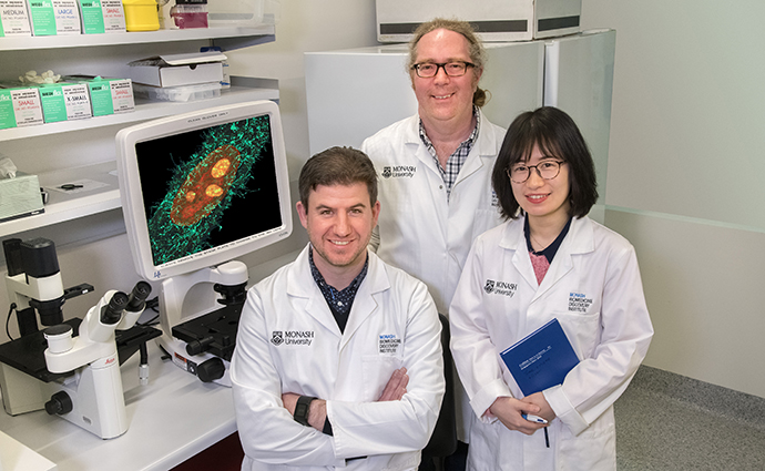 Dr Greg Moseley with Dr Stephen Rawlinson and PhD student Tianyue Zhao.