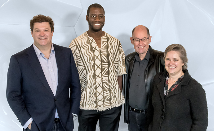 L-R: Professor James Whisstock, Dr Daouda Traore, Professor Julian Rood and Dr Vicki Adams.