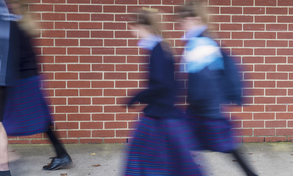 school students blurred