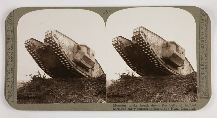 Monster tanks break down the belts of barbed wire and carry consternation to the Hun, Cambrai
