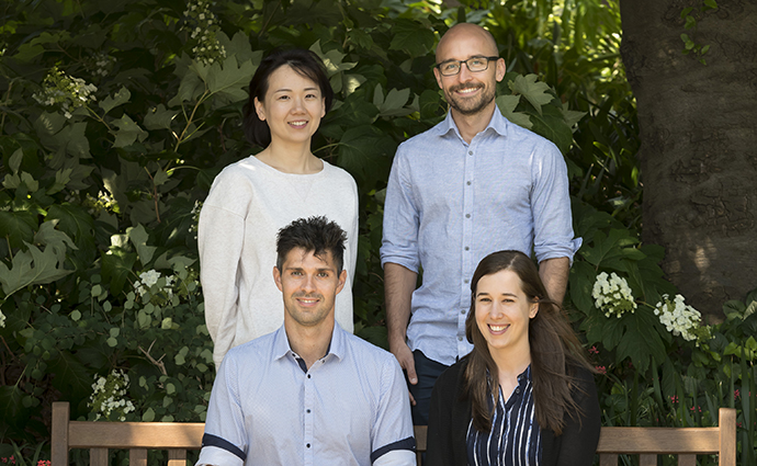 Dr Rich Berry with team members Dr Gabby Watson, Felix Deuss and Zhihui Fu.