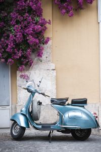 photo of a vespa scooter in Prato, Italy.