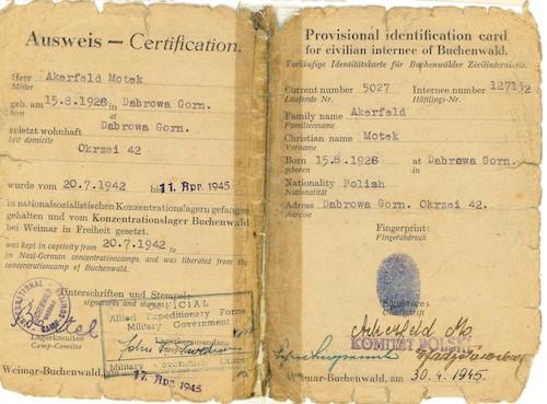 Buchenwald identity certificate belonging to Motek (Marcus) Ackerfeld
