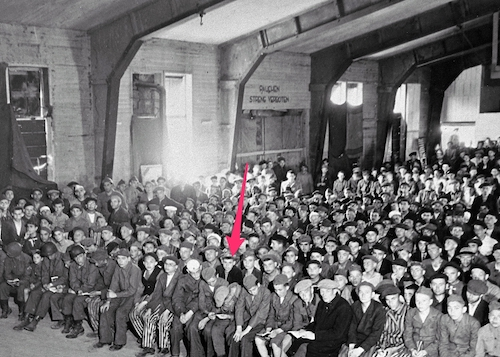 Yossl B in Jewish religious service in Buchenwald – his brother Baruch is two to the right