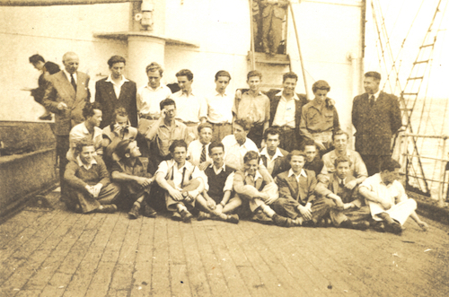 The Derna. Joe K (front 3rd from left), Emil K (middle row 4th from left), Walter Brand of American Jewish World Service (back row on left) and Joe S (4th from left).