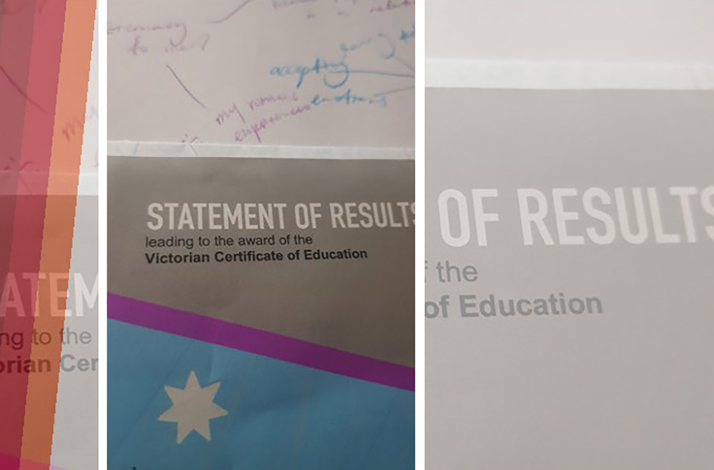 Statement of results leading to the award of the Victorian Certificate of Education