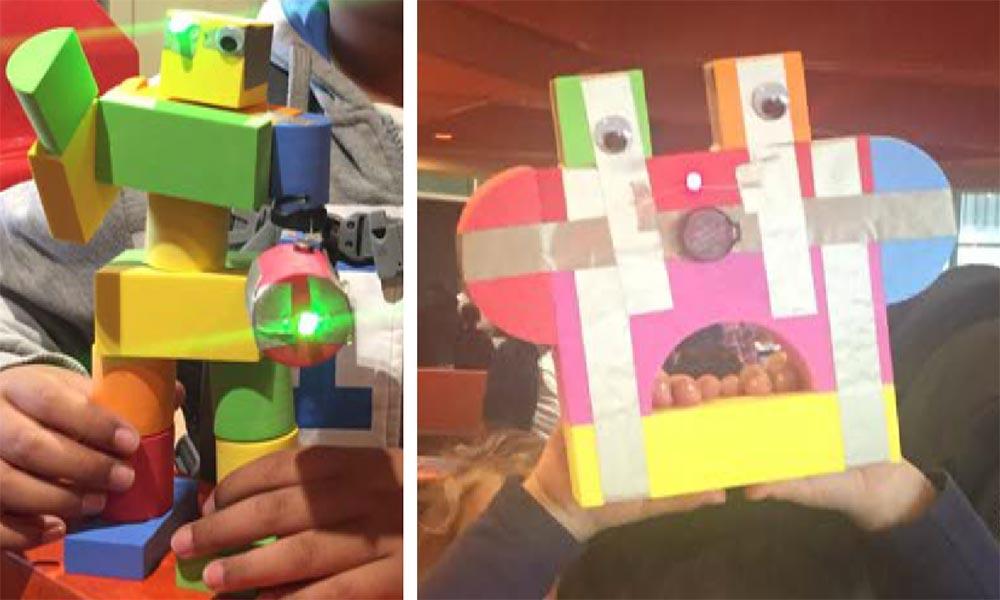 Kids' robot creations with TapeBlocks