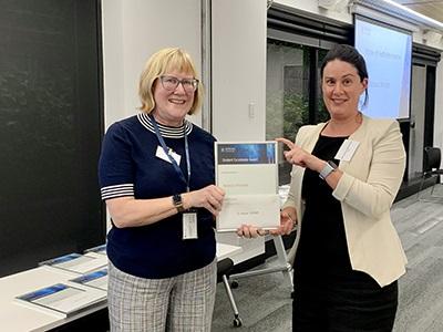 2020 Master of Health Administration Award winner Rebecca McIntosh with Professor Jane Banaszak-Holl