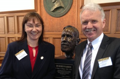 Professor Kate Smith-Miles (L) and Professor Aidan Byrne, CEO of the Australian Research Council (ARC)