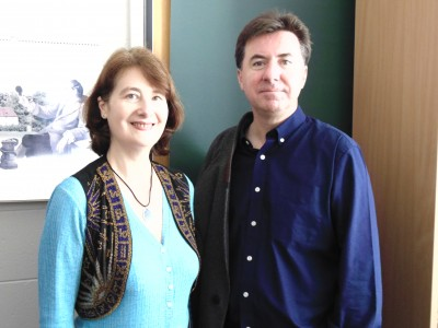 Monash Universitys Professor Kate Rigby with Professor David Morley
