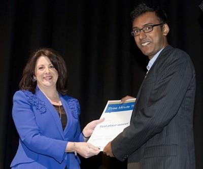 CEO of PACIA, Ms Samantha Read with winner, Tridib Saha
