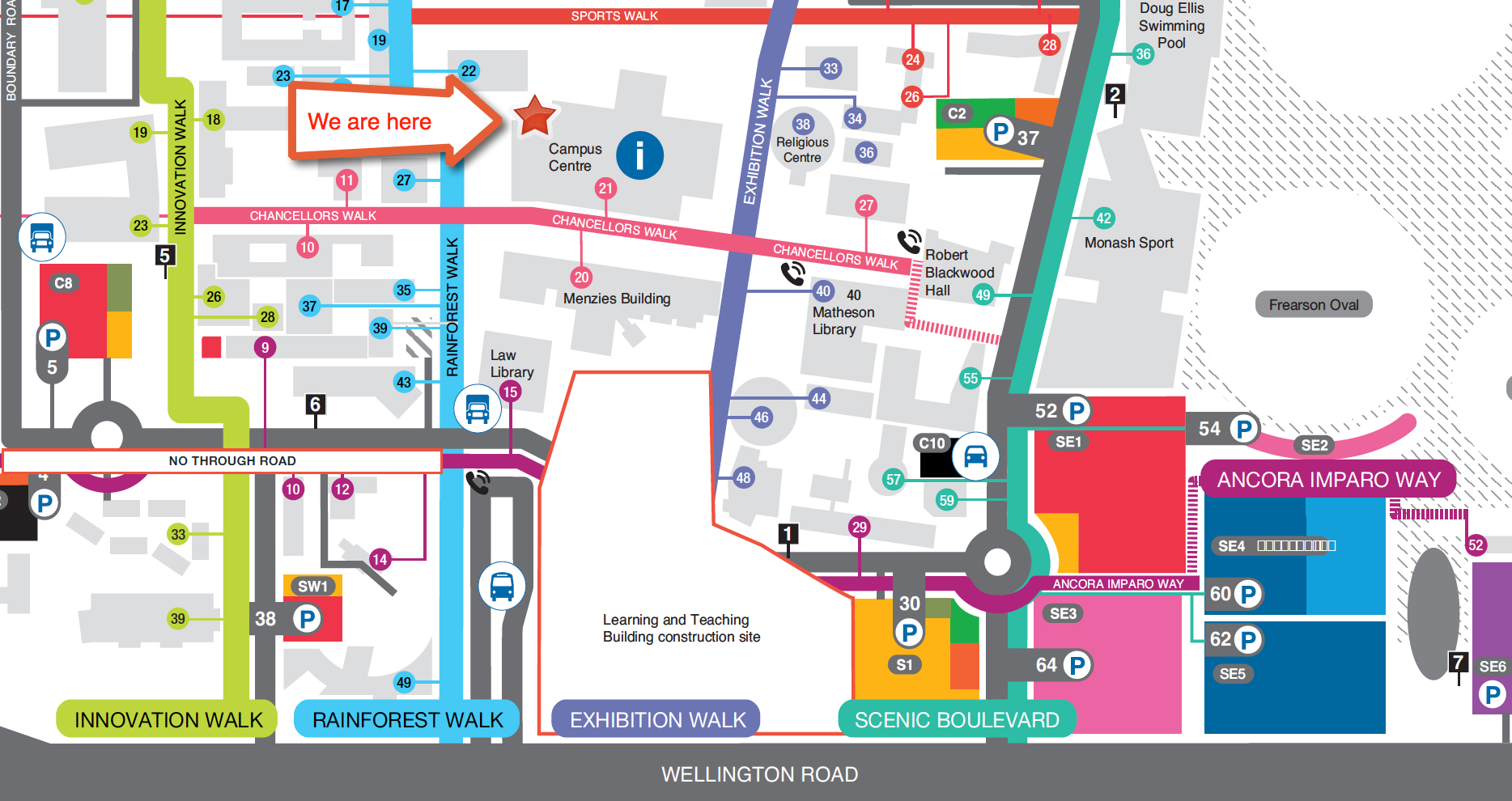 Map of Clayton campus showing dental surgery location in Campus Centre