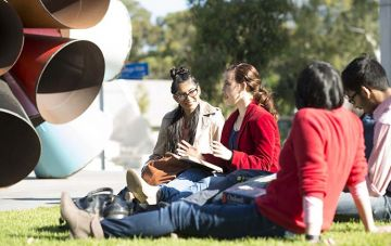 Students sitting on grass