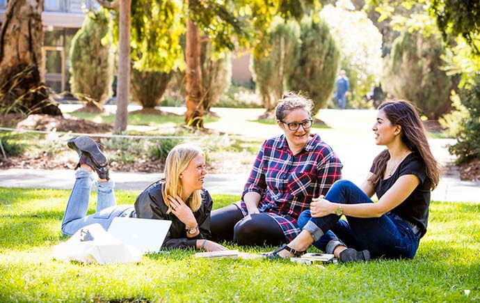 Students enjoying the park