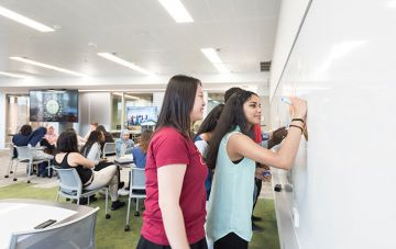 Students using whiteboard