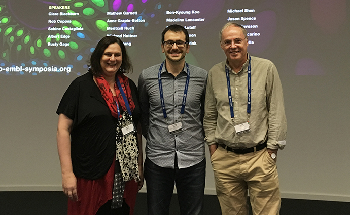 L-R: Professor Helen Abud and Dr Thierry Jarde with meeting organiser and their collaborator, Professor Hans Clevers.