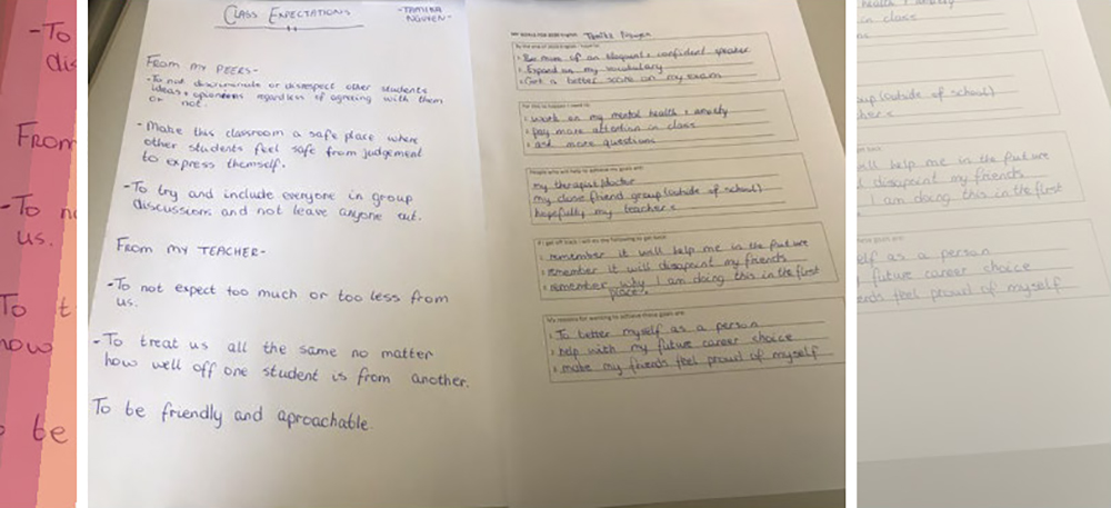 hand-written notes in a notepad