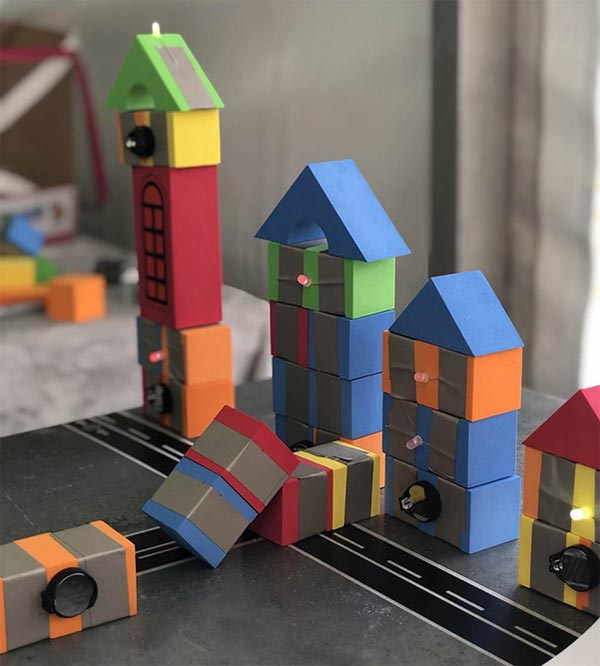 A town of buildings and roads made with TapeBlocks