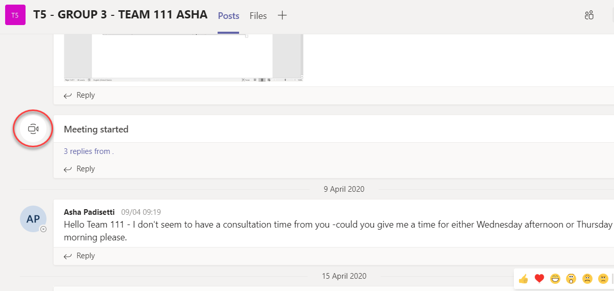 In Teams the educator communicates with the teams via livestream consultations or posts