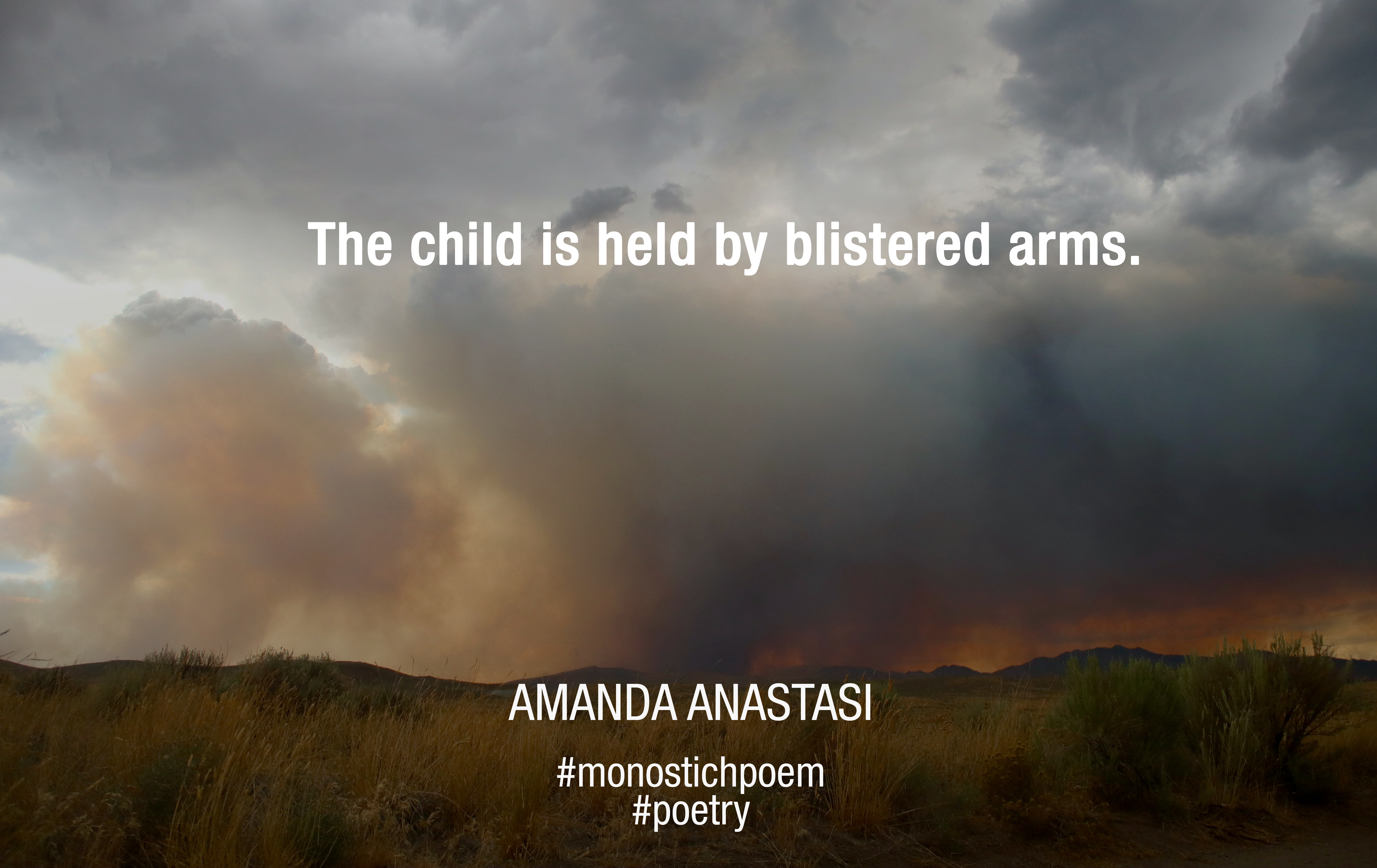 The child is held by blistered arms.