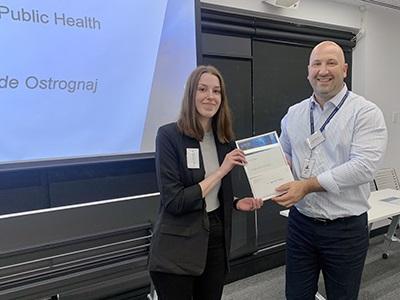 2020 Bachelor of Public Health Award winner Teagan Jade Ostrognaj with Professor Dragan Ilic