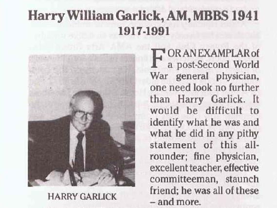 Harry Garlick obituary