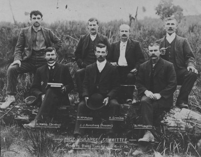 The first union Vigilance (or organising) Committee, Powlett River coalfields, January 1910 Frank Murphy stands at top left with Matthew McMahon on his immediate left. Harry Webb, Committee Secretary, sits at Murphy's feet. Wonthaggi Historical Society Co