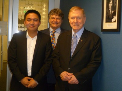 Front: Melchor Raval with the Honourable Justice Michael Kirby AC CMG, Rear: Paul Sudgen, Department of Business Law and Taxation