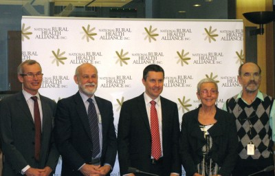 L-R:  Professor David Lyle, University of Sydney, Professor John Humphreys, Monash University, Honourable Mark Butler (Minister for Mental Health and Ageing), Professor Lesley Barclay and Gordon Gregory, National Rural Health Alliance