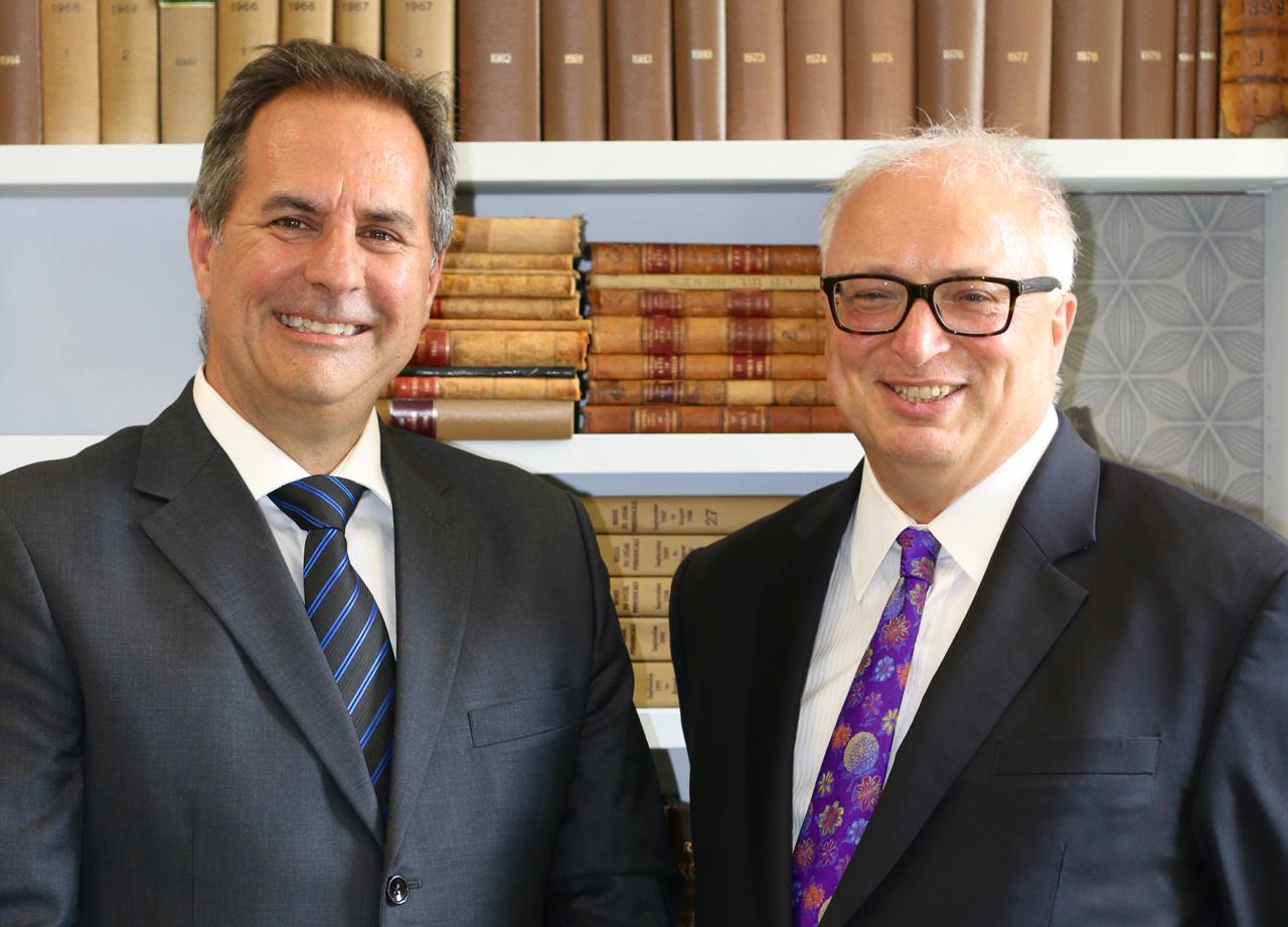 Professor Jean Allain with Professor Bryan Horrigan, dean of the Faculty of Law.