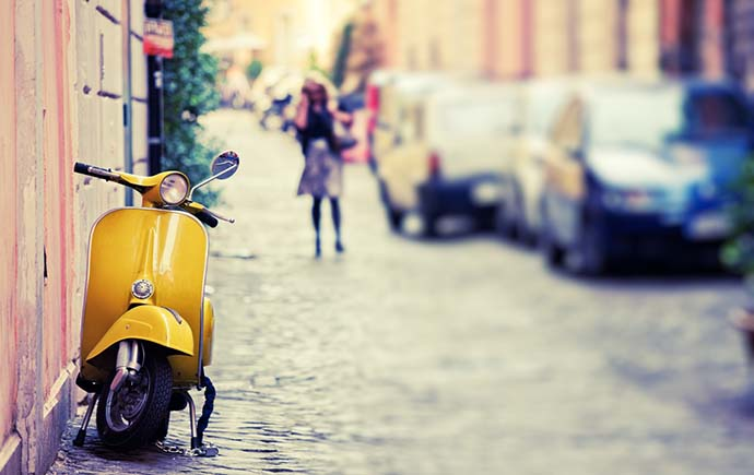 Vespa on streets of Italy