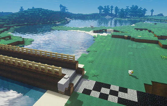 Minecraft virtual world showing a bridge built over a river