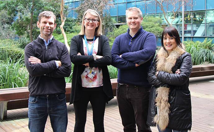 L-R: Associate Professor Ashley Buckle, Dr Kelly Walton, Dr Adam Rose and Associate Professor Ana Traven.