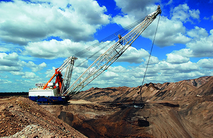 Dragline on the open pit coal mine, Queensland, Australia.