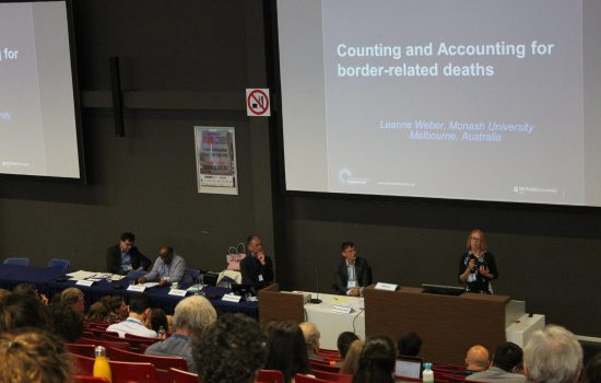 Leanne Weber presents her keynote at the 'Border Deaths and Migration Policies' conference at Vrije Universiteit, Amsterdam.