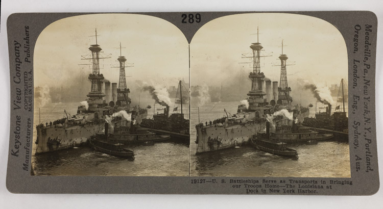 U.S. battleship serve as transports in bringing our troops home - The Louisiana at dock in New York harbor