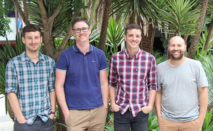 L-R: Mathias Hansen, Associate Professor Max Cryle, Dr Thierry Izore and Dr Julien Tailhades.